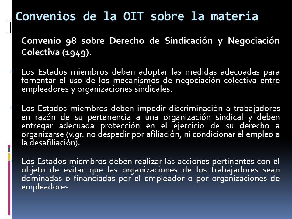 Convenios de la OIT sobre la materia Convenio 98 sobre Derecho de Sindicación y Negociación Colectiva (1949). Los Estados miembros deben adoptar las m