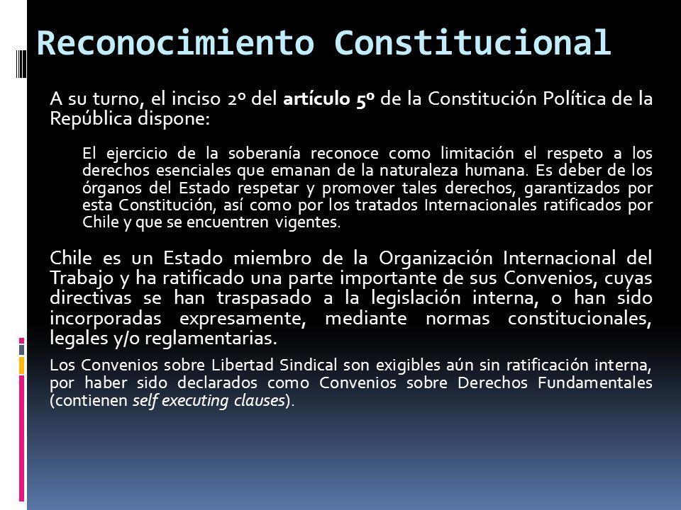 Reconocimiento Constitucional A su turno, el inciso 2º del artículo 5º de la Constitución Política de la República dispone: El ejercicio de la soberan