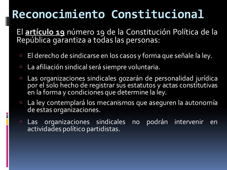 Reconocimiento Constitucional El artículo 19 número 19 de la Constitución Política de la República garantiza a todas las personas: El derecho de sindi