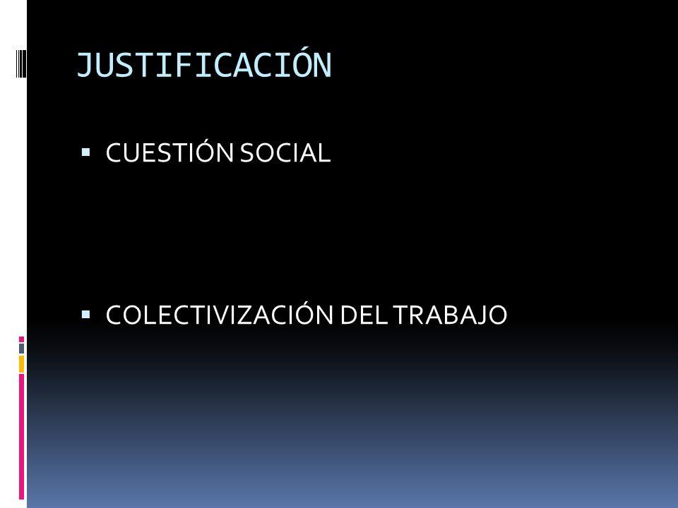 JUSTIFICACIÓN CUESTIÓN SOCIAL COLECTIVIZACIÓN DEL TRABAJO