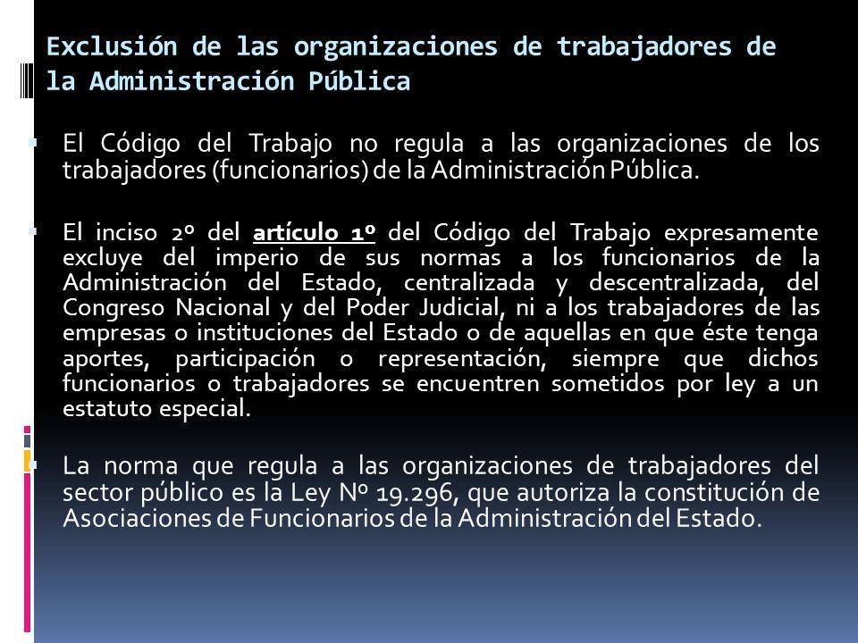 Exclusión de las organizaciones de trabajadores de la Administración Pública El Código del Trabajo no regula a las organizaciones de los trabajadores