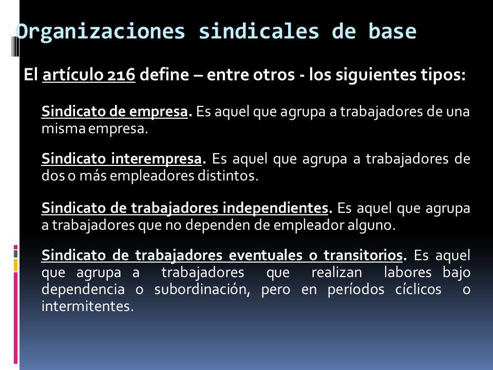 Organizaciones sindicales de base El artículo 216 define – entre otros - los siguientes tipos: Sindicato de empresa. Es aquel que agrupa a trabajadore