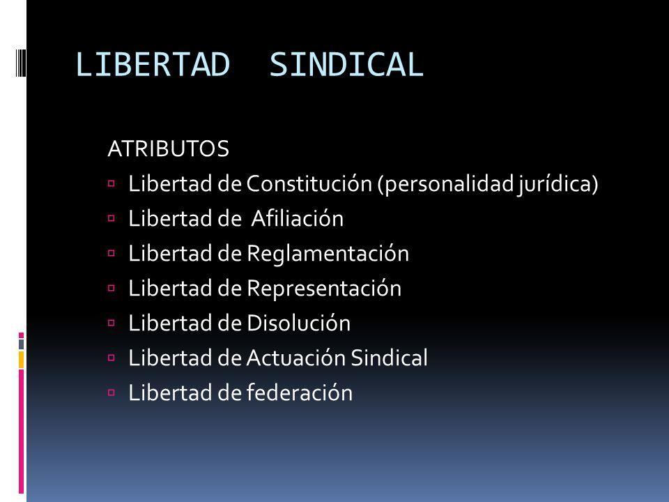 LIBERTAD SINDICAL ATRIBUTOS Libertad de Constitución (personalidad jurídica) Libertad de Afiliación Libertad de Reglamentación Libertad de Representac