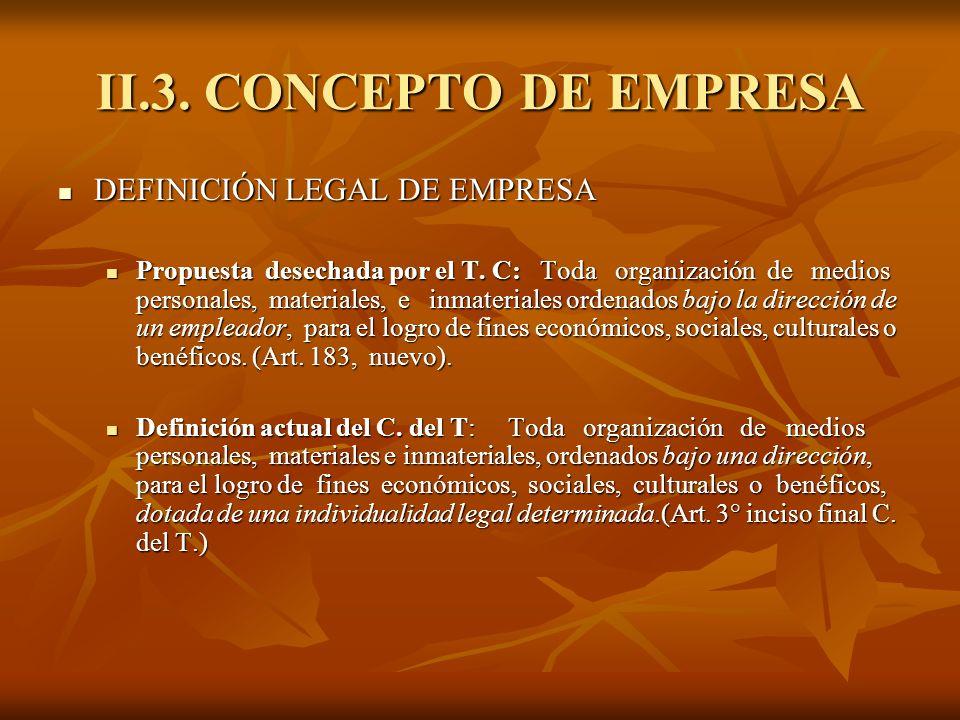 II.3. CONCEPTO DE EMPRESA DEFINICIÓN LEGAL DE EMPRESA DEFINICIÓN LEGAL DE EMPRESA Propuesta desechada por el T. C: Toda organización de medios persona
