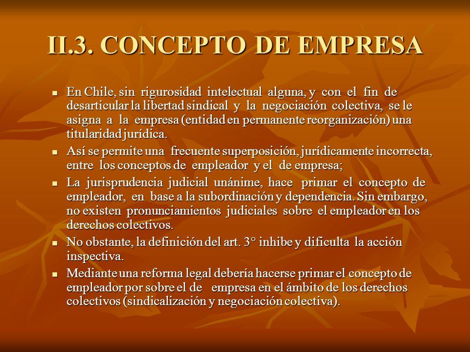 II.3. CONCEPTO DE EMPRESA En Chile, sin rigurosidad intelectual alguna, y con el fin de desarticular la libertad sindical y la negociación colectiva,