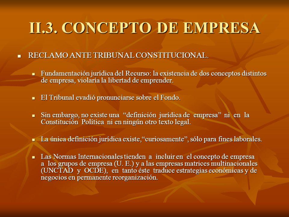 II.3. CONCEPTO DE EMPRESA RECLAMO ANTE TRIBUNAL CONSTITUCIONAL. RECLAMO ANTE TRIBUNAL CONSTITUCIONAL. Fundamentación jurídica del Recurso: la existenc