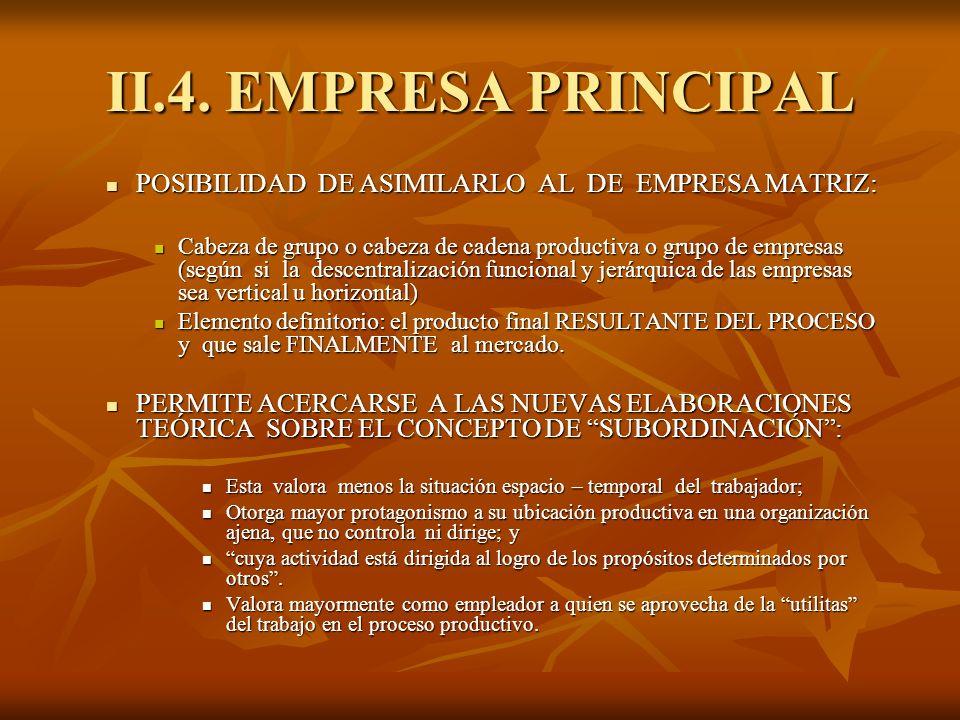 II.4. EMPRESA PRINCIPAL POSIBILIDAD DE ASIMILARLO AL DE EMPRESA MATRIZ: POSIBILIDAD DE ASIMILARLO AL DE EMPRESA MATRIZ: Cabeza de grupo o cabeza de ca