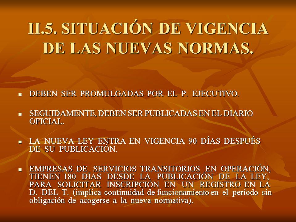 II.5. SITUACIÓN DE VIGENCIA DE LAS NUEVAS NORMAS. DEBEN SER PROMULGADAS POR EL P. EJECUTIVO. DEBEN SER PROMULGADAS POR EL P. EJECUTIVO. SEGUIDAMENTE,