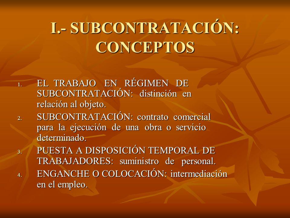 I.- SUBCONTRATACIÓN: CONCEPTOS 1. EL TRABAJO EN RÉGIMEN DE SUBCONTRATACIÓN: distinción en relación al objeto. 2. SUBCONTRATACIÓN: contrato comercial p
