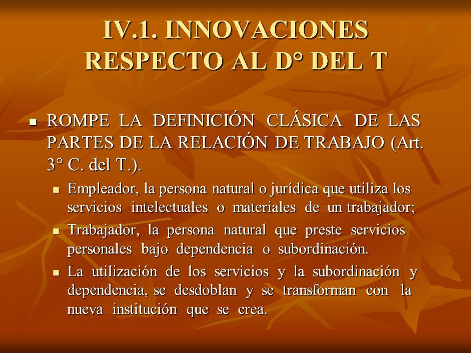 IV.1. INNOVACIONES RESPECTO AL D° DEL T ROMPE LA DEFINICIÓN CLÁSICA DE LAS PARTES DE LA RELACIÓN DE TRABAJO (Art. 3° C. del T.). ROMPE LA DEFINICIÓN C