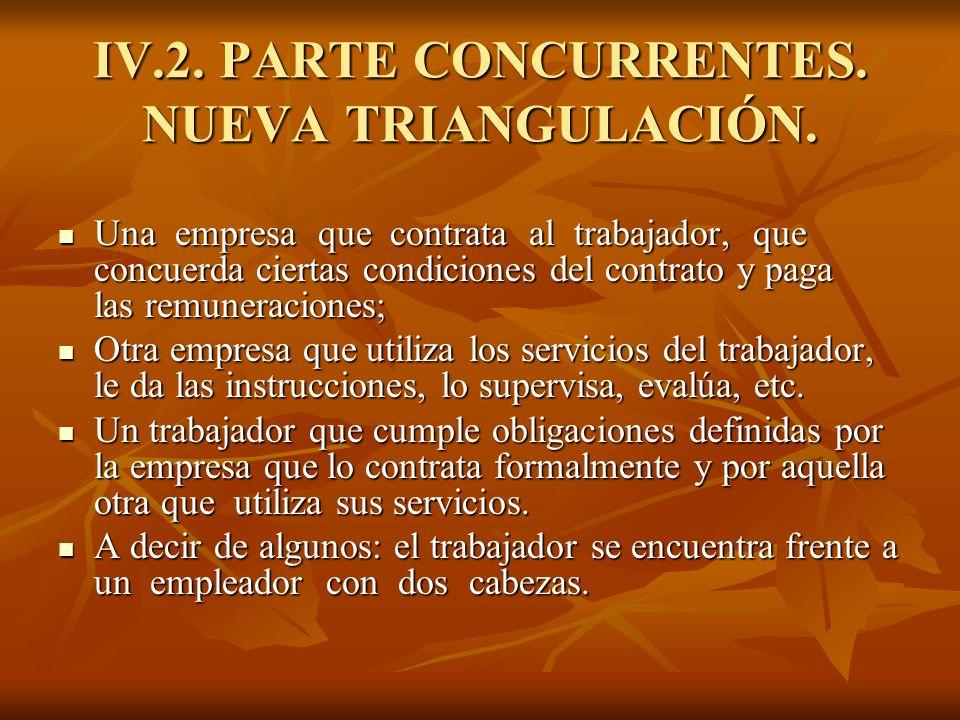 IV.2. PARTE CONCURRENTES. NUEVA TRIANGULACIÓN. Una empresa que contrata al trabajador, que concuerda ciertas condiciones del contrato y paga las remun