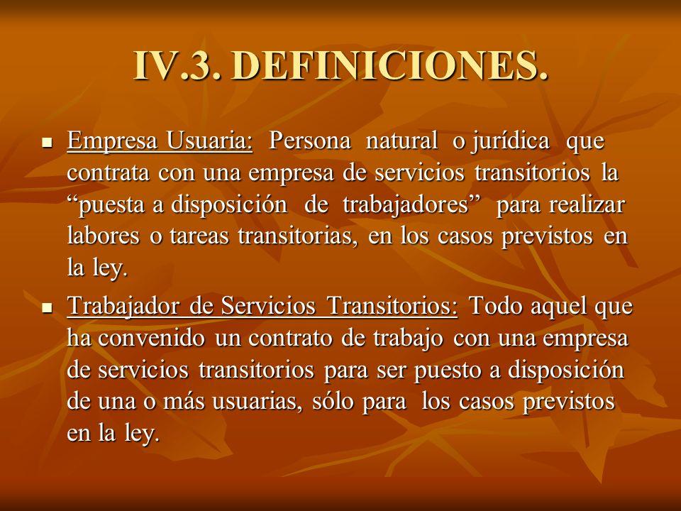 IV.3. DEFINICIONES. Empresa Usuaria: Persona natural o jurídica que contrata con una empresa de servicios transitorios la puesta a disposición de trab