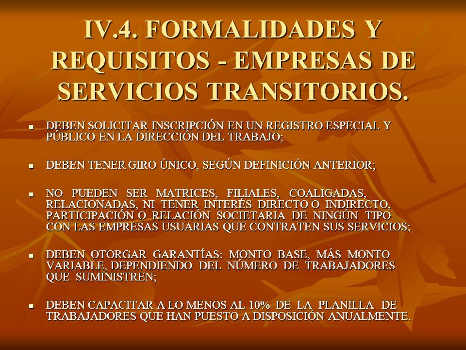 IV.4. FORMALIDADES Y REQUISITOS - EMPRESAS DE SERVICIOS TRANSITORIOS. DEBEN SOLICITAR INSCRIPCIÓN EN UN REGISTRO ESPECIAL Y PÚBLICO EN LA DIRECCIÓN DE