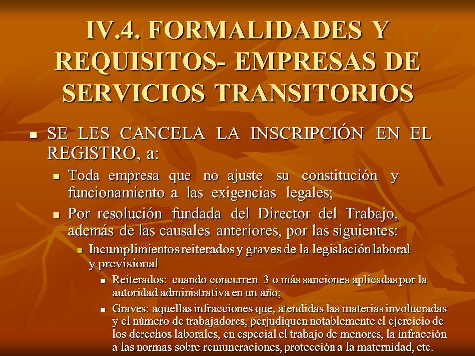 IV.4. FORMALIDADES Y REQUISITOS- EMPRESAS DE SERVICIOS TRANSITORIOS SE LES CANCELA LA INSCRIPCIÓN EN EL REGISTRO, a: SE LES CANCELA LA INSCRIPCIÓN EN