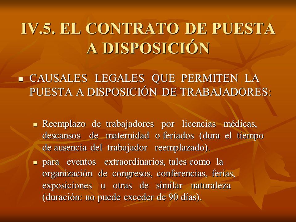 IV.5. EL CONTRATO DE PUESTA A DISPOSICIÓN CAUSALES LEGALES QUE PERMITEN LA PUESTA A DISPOSICIÓN DE TRABAJADORES: CAUSALES LEGALES QUE PERMITEN LA PUES