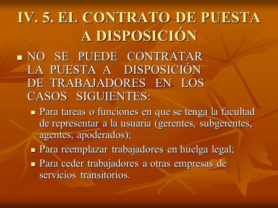 IV. 5. EL CONTRATO DE PUESTA A DISPOSICIÓN NO SE PUEDE CONTRATAR LA PUESTA A DISPOSICIÓN DE TRABAJADORES EN LOS CASOS SIGUIENTES: NO SE PUEDE CONTRATA