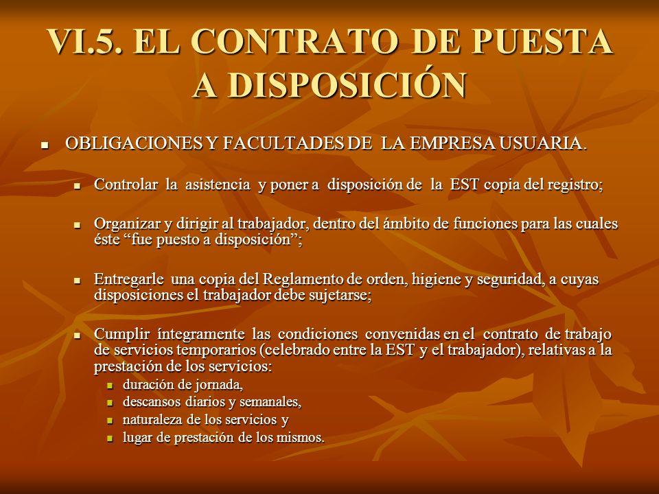 VI.5. EL CONTRATO DE PUESTA A DISPOSICIÓN OBLIGACIONES Y FACULTADES DE LA EMPRESA USUARIA. OBLIGACIONES Y FACULTADES DE LA EMPRESA USUARIA. Controlar