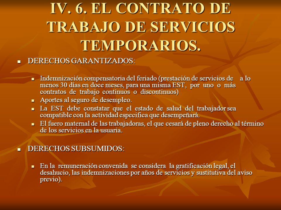 IV. 6. EL CONTRATO DE TRABAJO DE SERVICIOS TEMPORARIOS. DERECHOS GARANTIZADOS: DERECHOS GARANTIZADOS: Indemnización compensatoria del feriado (prestac