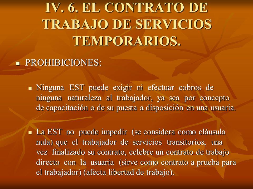 IV. 6. EL CONTRATO DE TRABAJO DE SERVICIOS TEMPORARIOS. PROHIBICIONES: PROHIBICIONES: Ninguna EST puede exigir ni efectuar cobros de ninguna naturalez