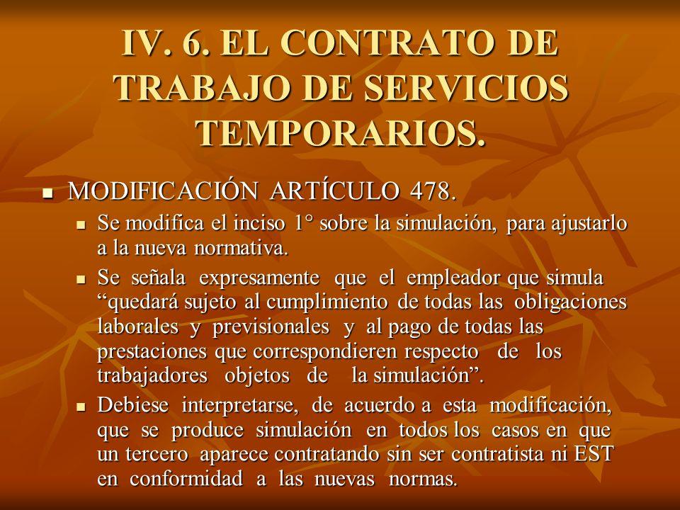 IV. 6. EL CONTRATO DE TRABAJO DE SERVICIOS TEMPORARIOS. MODIFICACIÓN ARTÍCULO 478. MODIFICACIÓN ARTÍCULO 478. Se modifica el inciso 1° sobre la simula