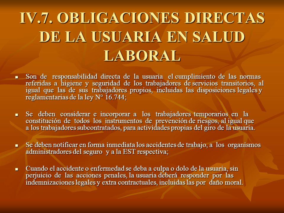 IV.7. OBLIGACIONES DIRECTAS DE LA USUARIA EN SALUD LABORAL Son de responsabilidad directa de la usuaria el cumplimiento de las normas referidas a higi