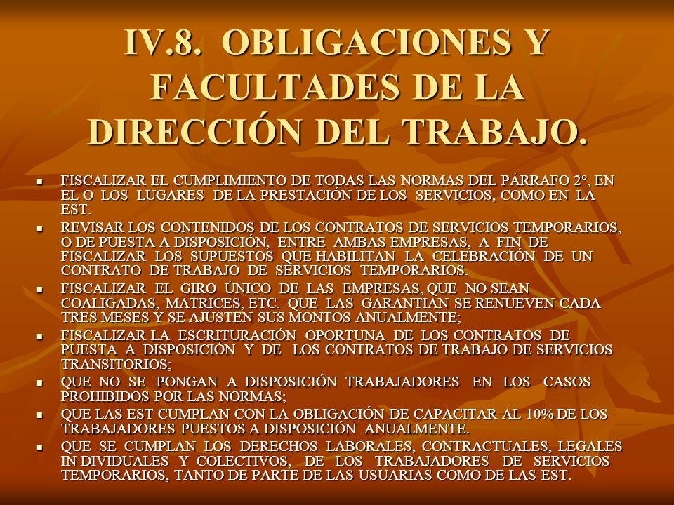 IV.8. OBLIGACIONES Y FACULTADES DE LA DIRECCIÓN DEL TRABAJO. FISCALIZAR EL CUMPLIMIENTO DE TODAS LAS NORMAS DEL PÁRRAFO 2°, EN EL O LOS LUGARES DE LA