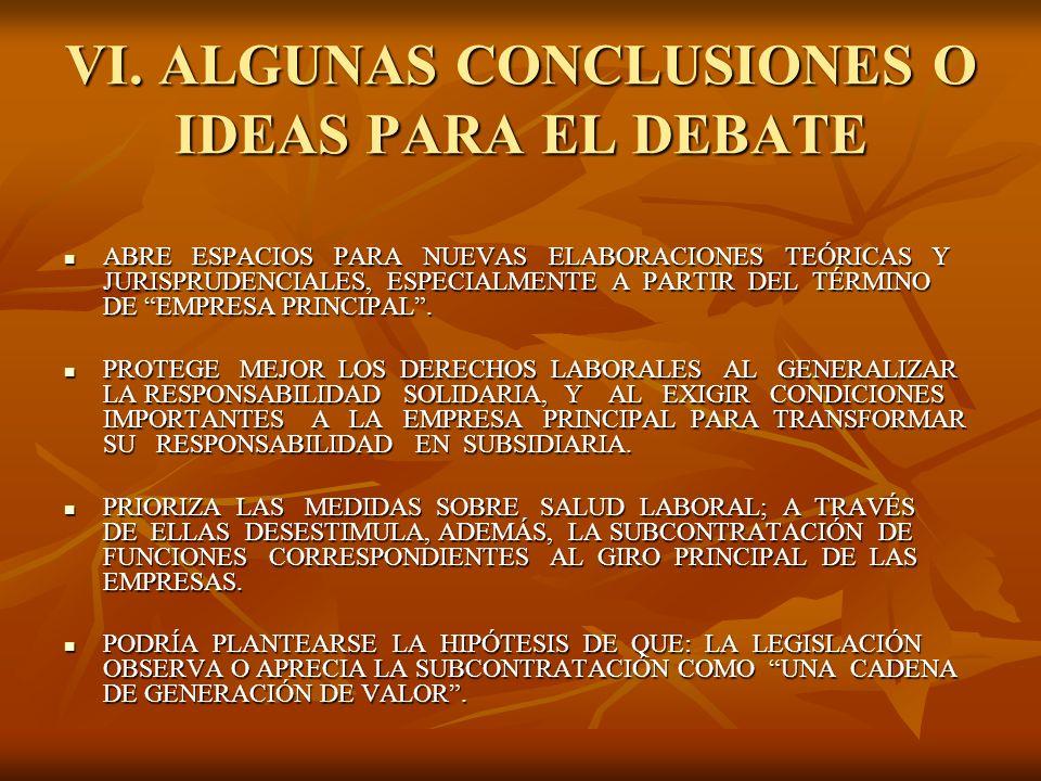 VI. ALGUNAS CONCLUSIONES O IDEAS PARA EL DEBATE ABRE ESPACIOS PARA NUEVAS ELABORACIONES TEÓRICAS Y JURISPRUDENCIALES, ESPECIALMENTE A PARTIR DEL TÉRMI
