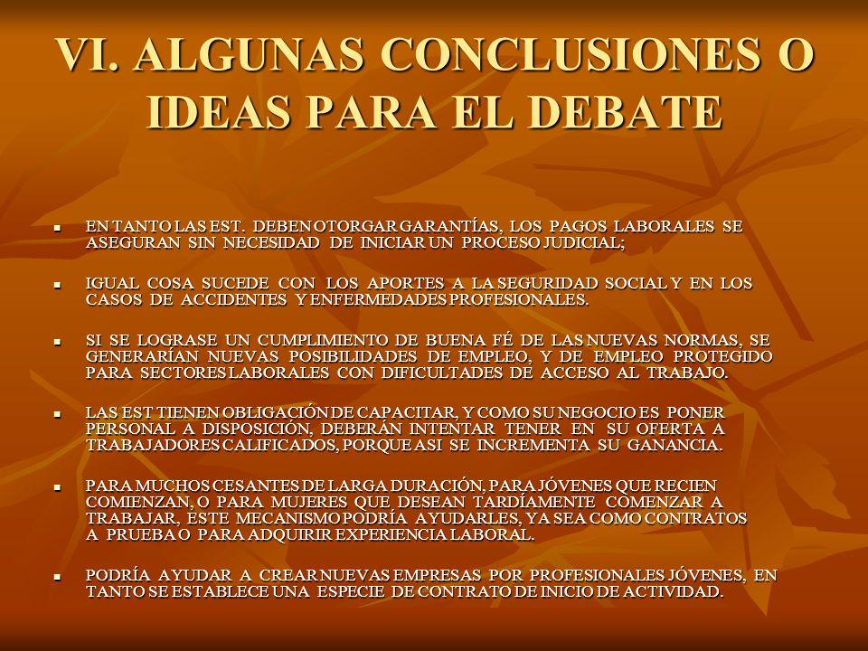 VI. ALGUNAS CONCLUSIONES O IDEAS PARA EL DEBATE EN TANTO LAS EST. DEBEN OTORGAR GARANTÍAS, LOS PAGOS LABORALES SE ASEGURAN SIN NECESIDAD DE INICIAR UN