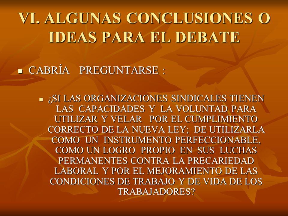 VI. ALGUNAS CONCLUSIONES O IDEAS PARA EL DEBATE CABRÍA PREGUNTARSE : CABRÍA PREGUNTARSE : ¿SI LAS ORGANIZACIONES SINDICALES TIENEN LAS CAPACIDADES Y L