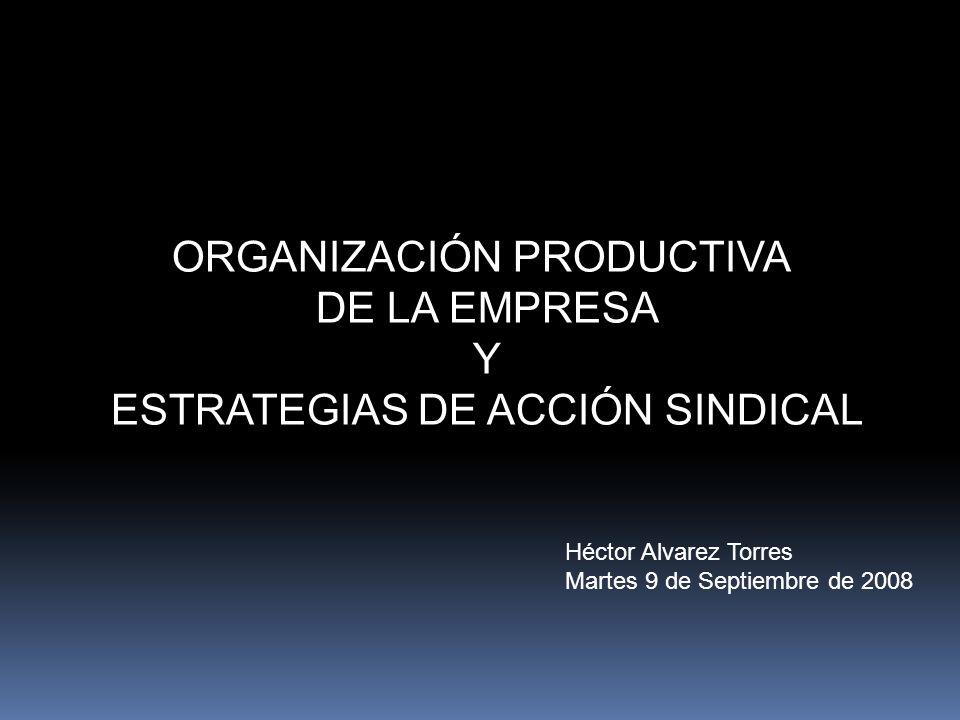ORGANIZACIÓN PRODUCTIVA DE LA EMPRESA Y ESTRATEGIAS DE ACCIÓN SINDICAL Héctor Alvarez Torres Martes 9 de Septiembre de 2008