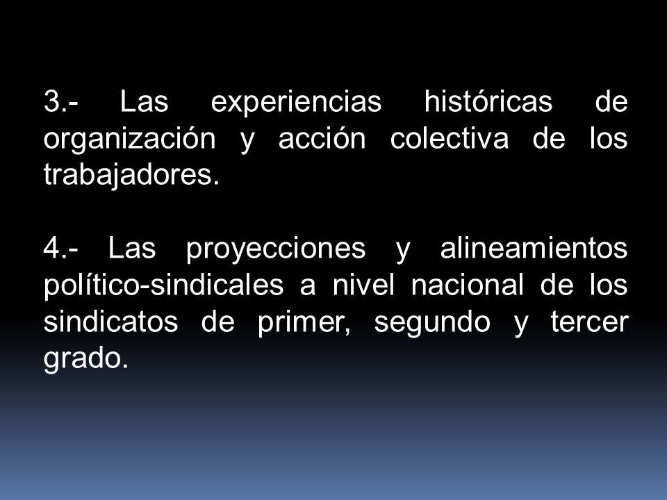 3.- Las experiencias históricas de organización y acción colectiva de los trabajadores. 4.- Las proyecciones y alineamientos político-sindicales a niv