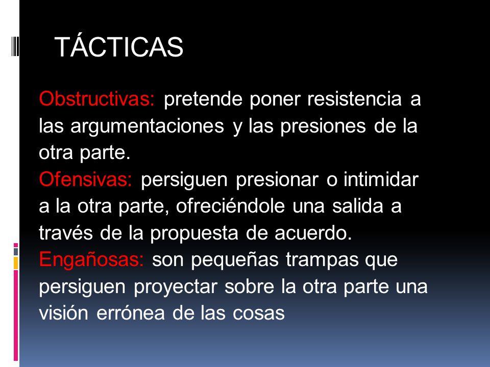 TÁCTICAS Obstructivas: pretende poner resistencia a las argumentaciones y las presiones de la otra parte. Ofensivas: persiguen presionar o intimidar a