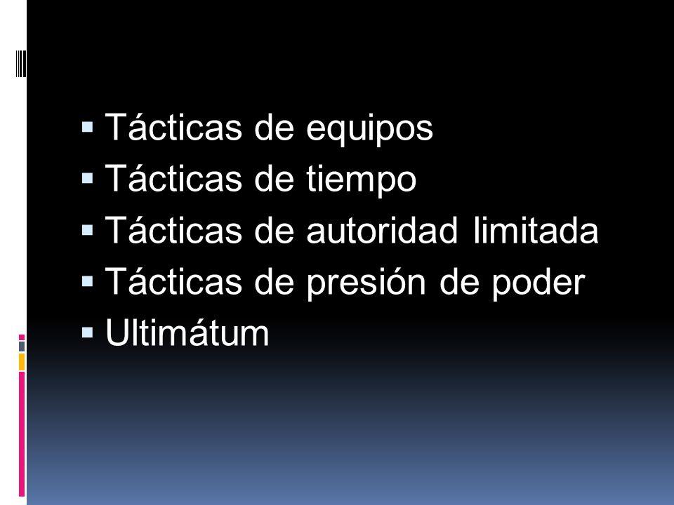 Tácticas de equipos Tácticas de tiempo Tácticas de autoridad limitada Tácticas de presión de poder Ultimátum