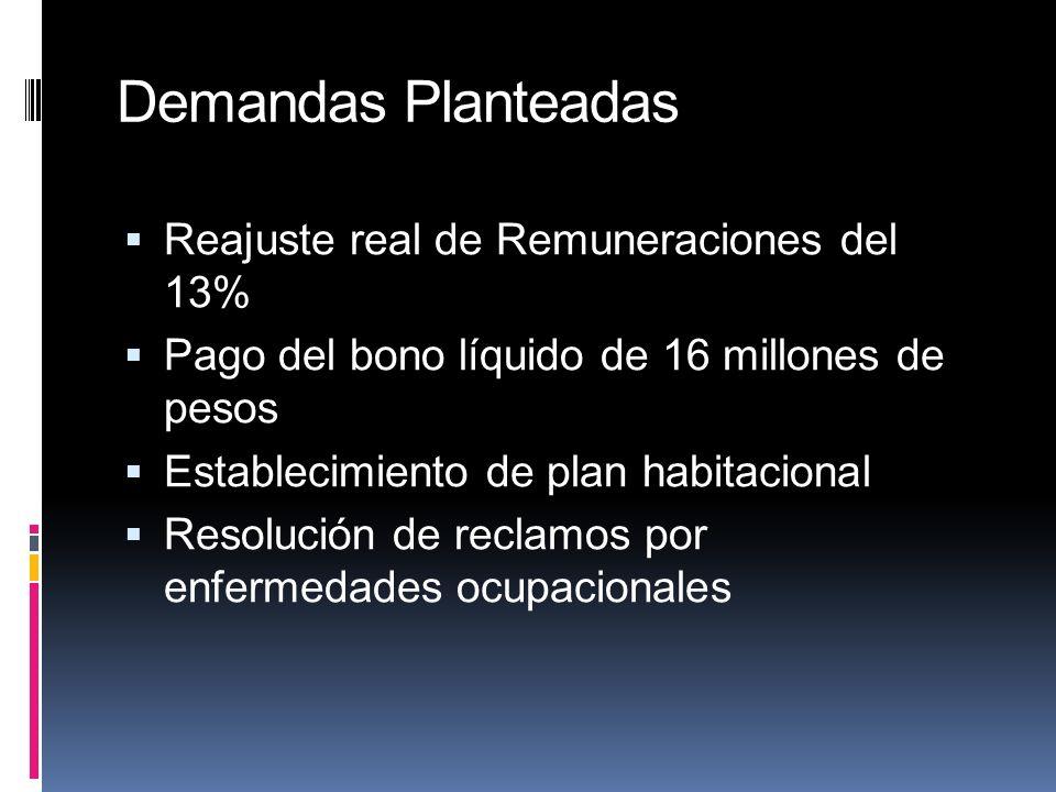 Demandas Planteadas Reajuste real de Remuneraciones del 13% Pago del bono líquido de 16 millones de pesos Establecimiento de plan habitacional Resolución de reclamos por enfermedades ocupacionales