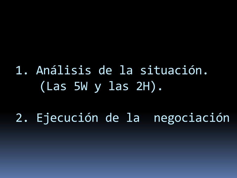 1. Análisis de la situación. (Las 5W y las 2H). 2. Ejecución de la negociación