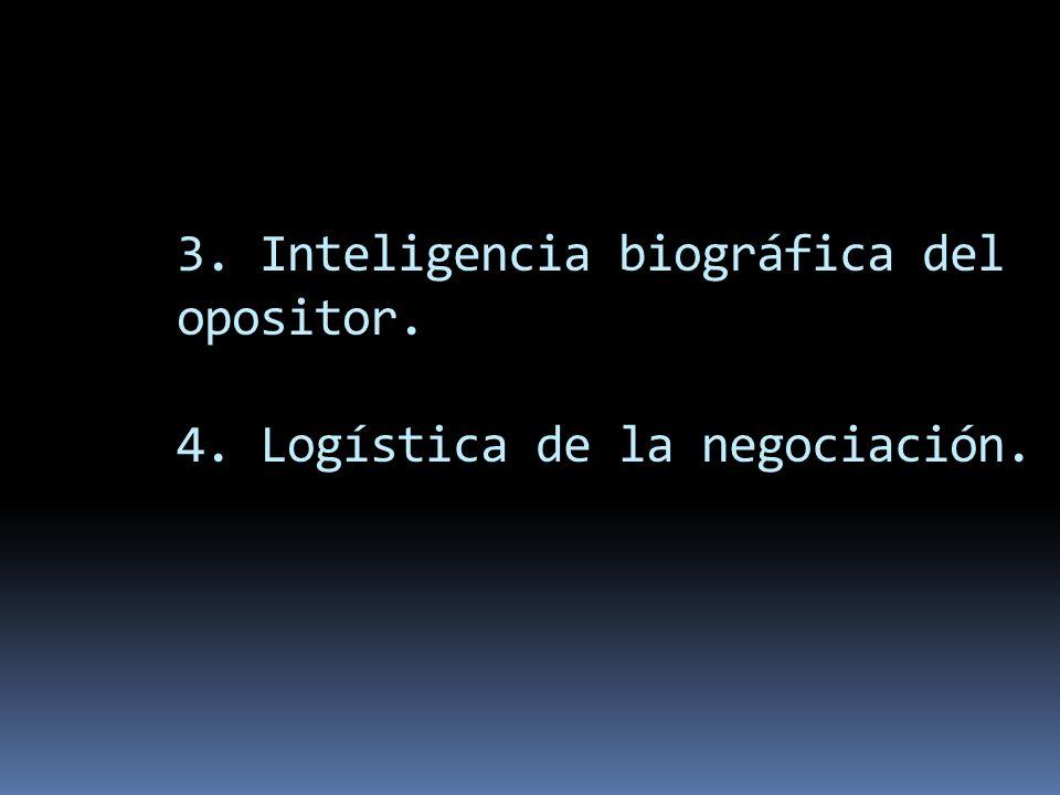 3. Inteligencia biográfica del opositor. 4. Logística de la negociación.