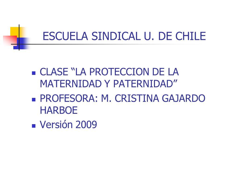 ESCUELA SINDICAL U. DE CHILE CLASE LA PROTECCION DE LA MATERNIDAD Y PATERNIDAD PROFESORA: M. CRISTINA GAJARDO HARBOE Versión 2009