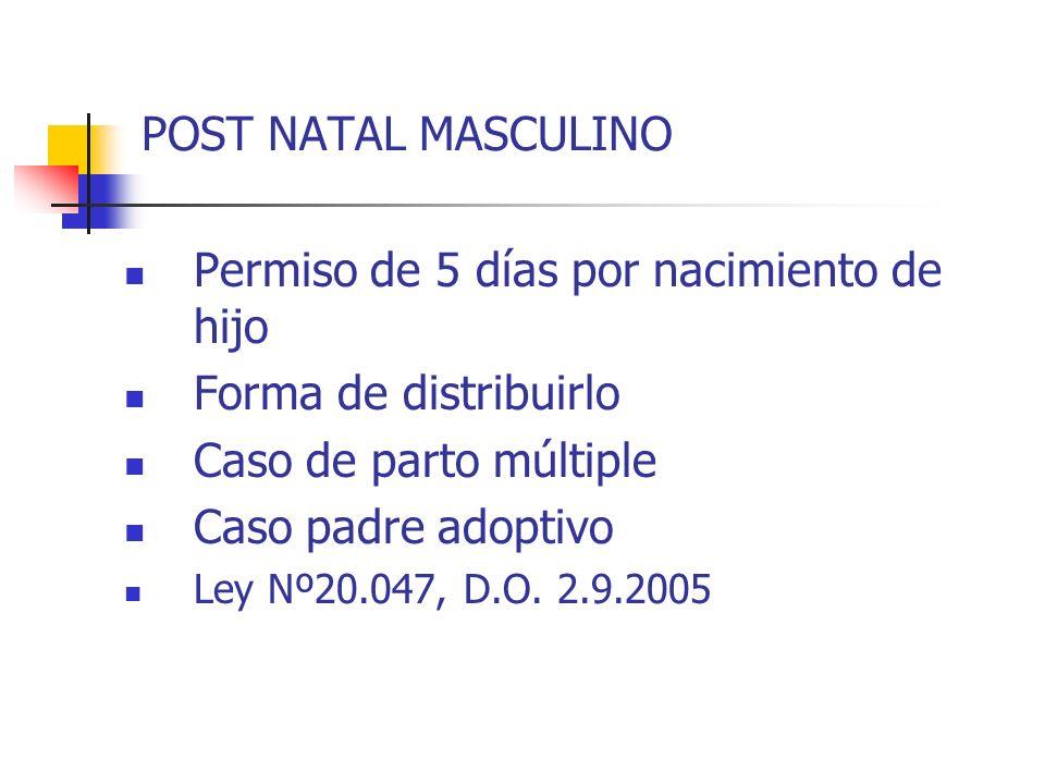 POST NATAL MASCULINO Permiso de 5 días por nacimiento de hijo Forma de distribuirlo Caso de parto múltiple Caso padre adoptivo Ley Nº20.047, D.O. 2.9.