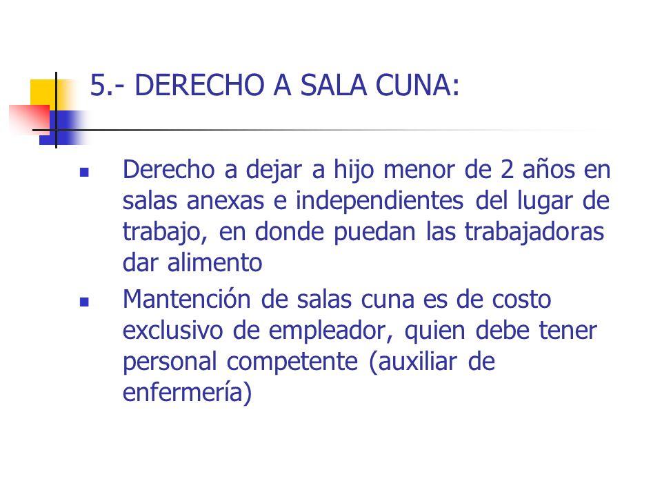 5.- DERECHO A SALA CUNA: Derecho a dejar a hijo menor de 2 años en salas anexas e independientes del lugar de trabajo, en donde puedan las trabajadora