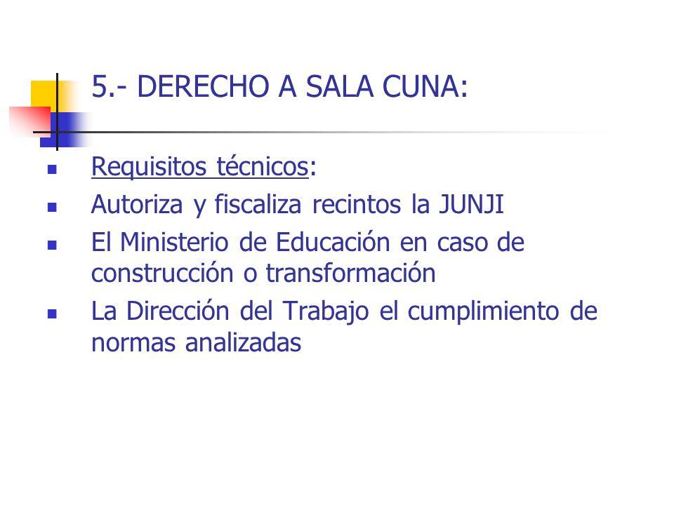 5.- DERECHO A SALA CUNA: Requisitos técnicos: Autoriza y fiscaliza recintos la JUNJI El Ministerio de Educación en caso de construcción o transformaci