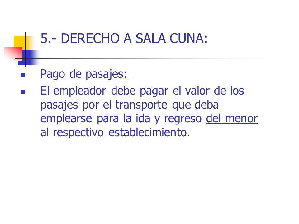 5.- DERECHO A SALA CUNA: Pago de pasajes: El empleador debe pagar el valor de los pasajes por el transporte que deba emplearse para la ida y regreso d