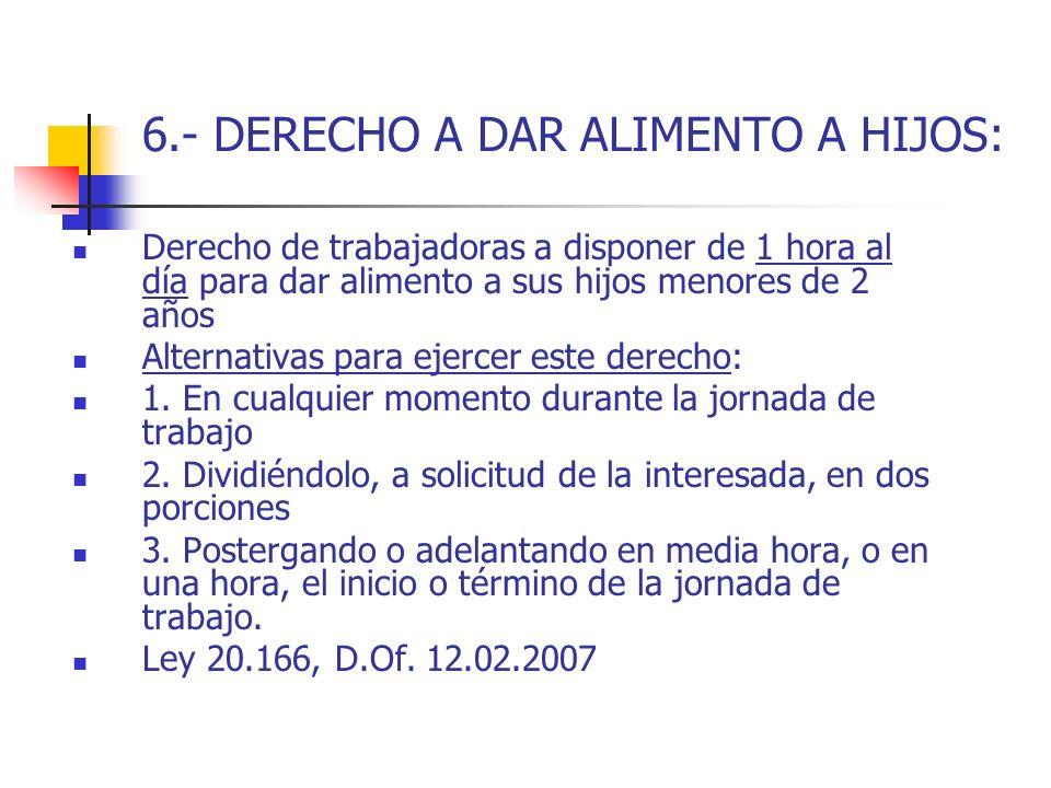 6.- DERECHO A DAR ALIMENTO A HIJOS: Derecho de trabajadoras a disponer de 1 hora al día para dar alimento a sus hijos menores de 2 años Alternativas p