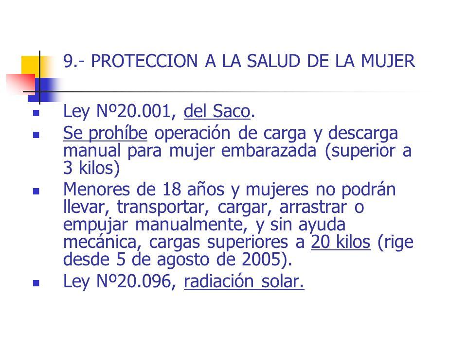 9.- PROTECCION A LA SALUD DE LA MUJER Ley Nº20.001, del Saco. Se prohíbe operación de carga y descarga manual para mujer embarazada (superior a 3 kilo