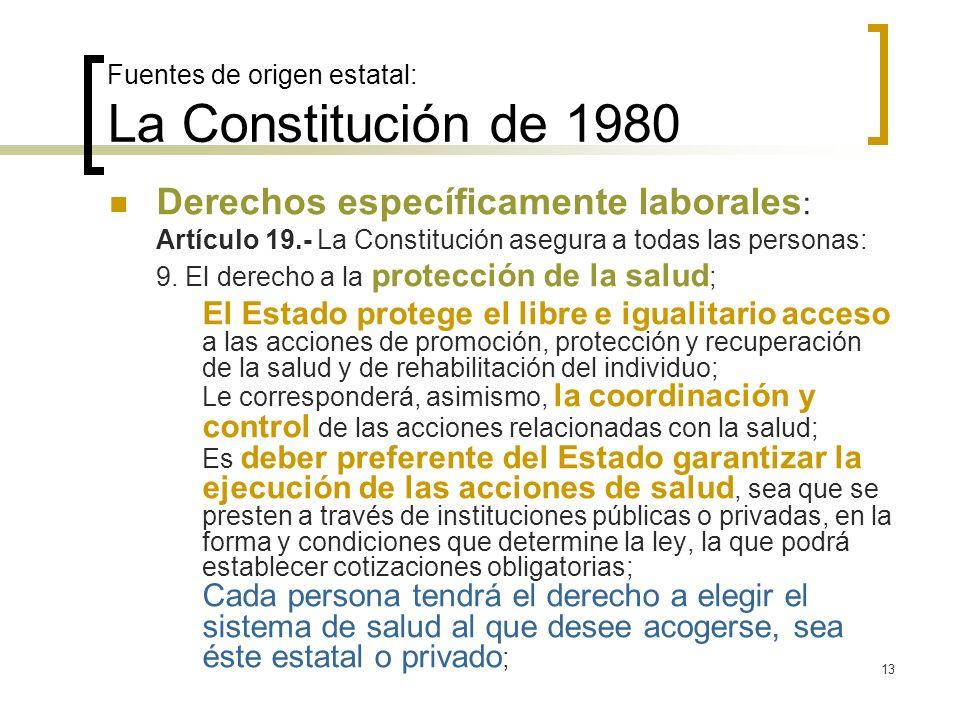 13 Fuentes de origen estatal: La Constitución de 1980 Derechos específicamente laborales : Artículo 19.- La Constitución asegura a todas las personas: