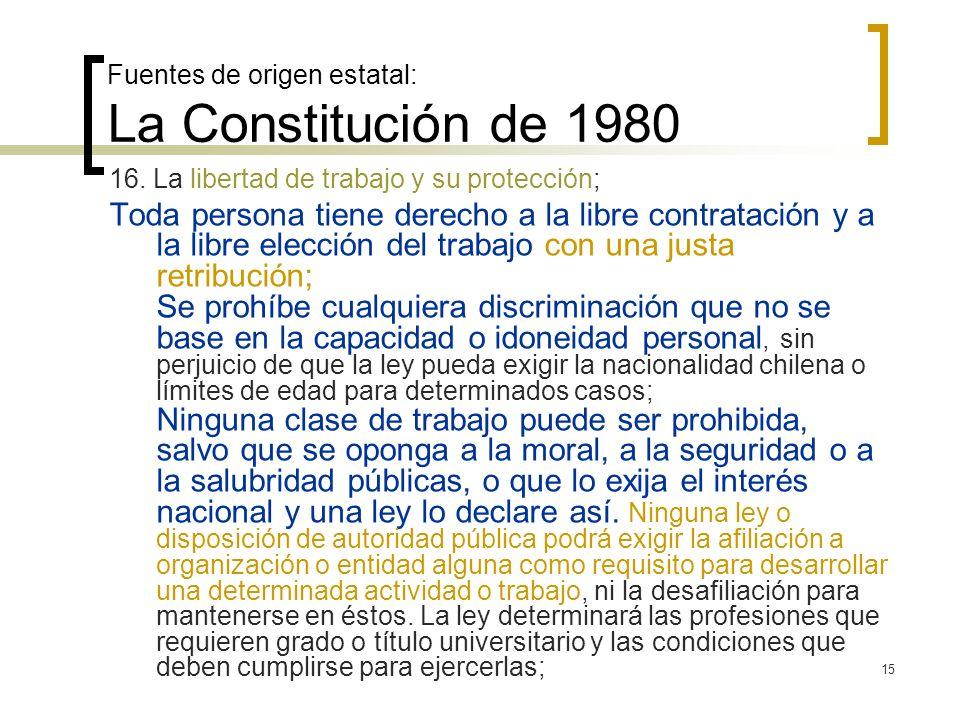 15 Fuentes de origen estatal: La Constitución de 1980 16. La libertad de trabajo y su protección; Toda persona tiene derecho a la libre contratación y