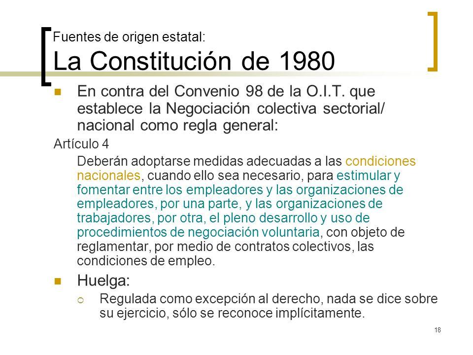 18 Fuentes de origen estatal: La Constitución de 1980 En contra del Convenio 98 de la O.I.T. que establece la Negociación colectiva sectorial/ naciona