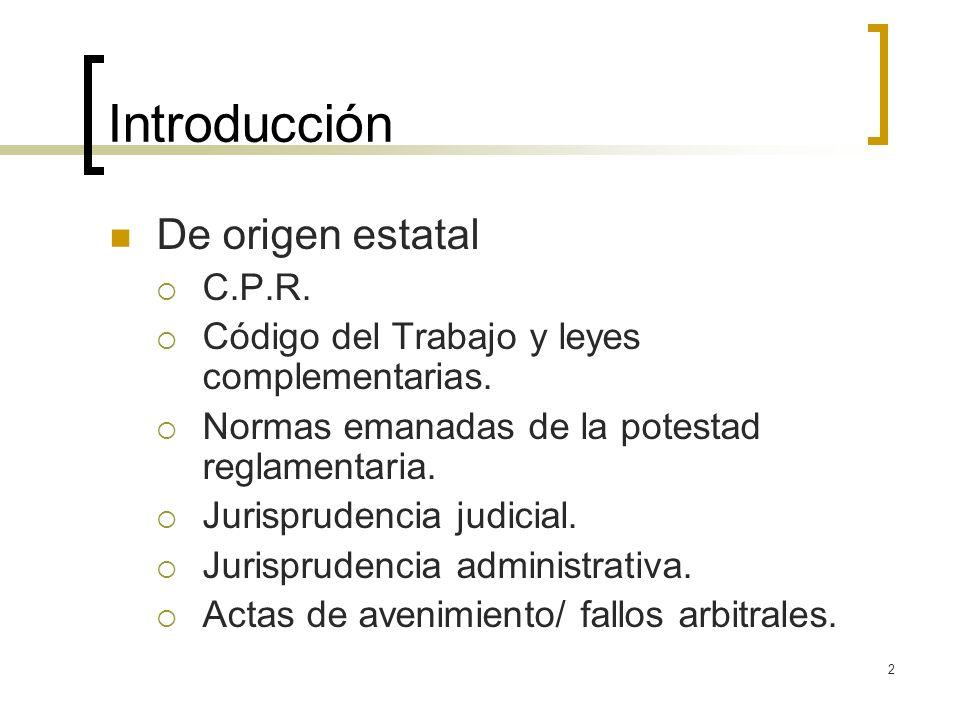 2 Introducción De origen estatal C.P.R. Código del Trabajo y leyes complementarias. Normas emanadas de la potestad reglamentaria. Jurisprudencia judic