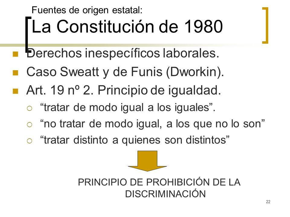 22 Fuentes de origen estatal: La Constitución de 1980 Derechos inespecíficos laborales. Caso Sweatt y de Funis (Dworkin). Art. 19 nº 2. Principio de i