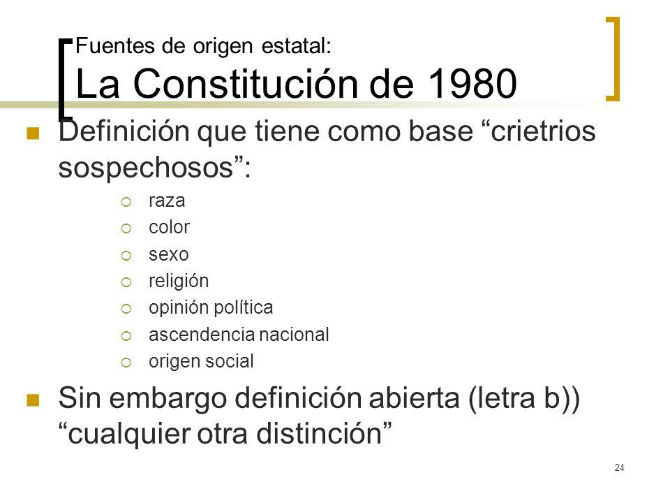 24 Fuentes de origen estatal: La Constitución de 1980 Definición que tiene como base crietrios sospechosos: raza color sexo religión opinión política
