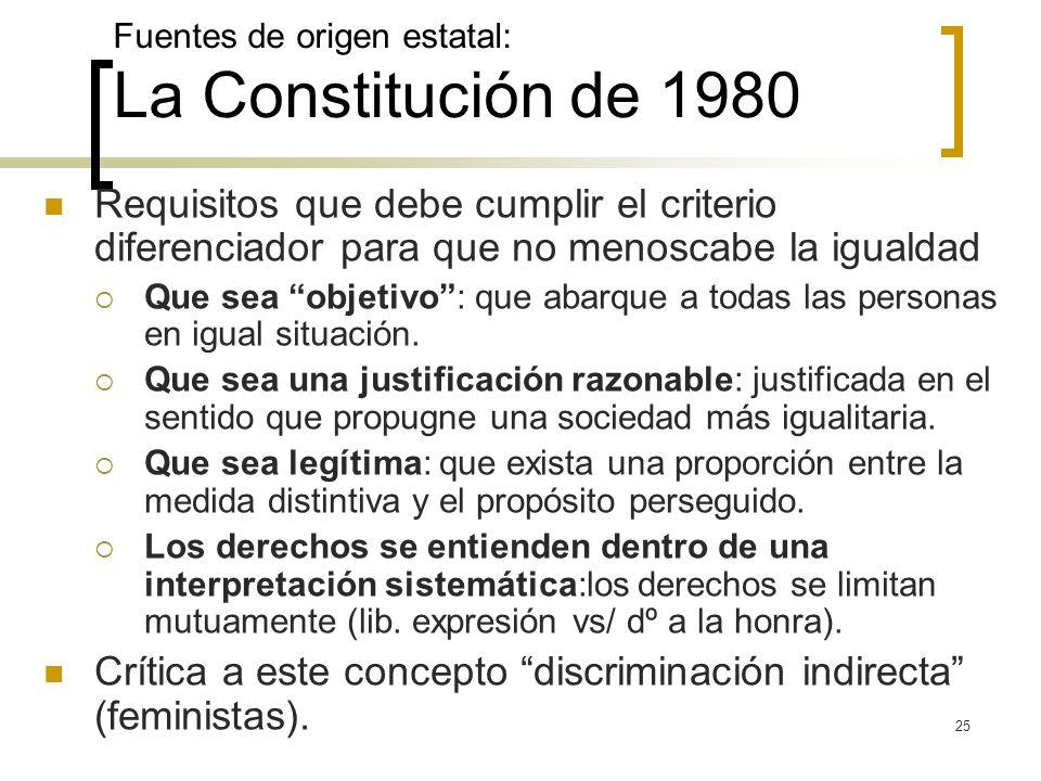 25 Fuentes de origen estatal: La Constitución de 1980 Requisitos que debe cumplir el criterio diferenciador para que no menoscabe la igualdad Que sea